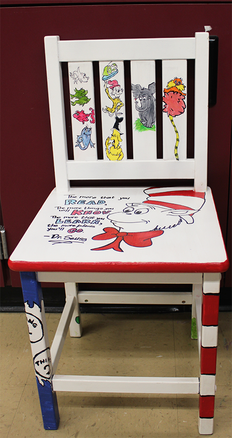 Junior Nadia Bloom Hand Painted Dr. Seuss Images Onto A Reading Chair. The  Chair