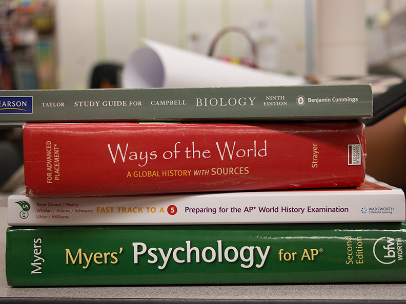 AP books to show how much stress students are under.