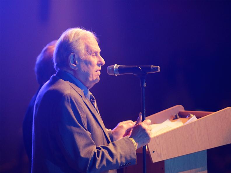 Survivor Gerald Biegel shares his Holocaust experiences on Dec. 11.