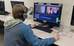 TV production student edits a Christmas segment