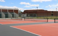 NEW COURTS. The new tennis courts, installed in Oviedo High School colors, are seen here.